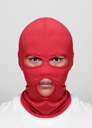 Балаклава маска (бандитка), унисекс красная