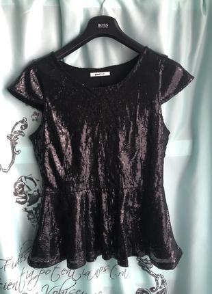 Кофта баска чёрная пайетки люкс вечерняя блуза