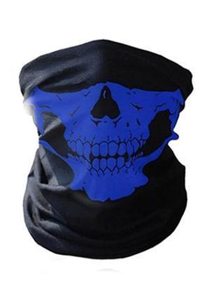 Бафф маска с рисунком черепа (челюсть) синяя, унисекс