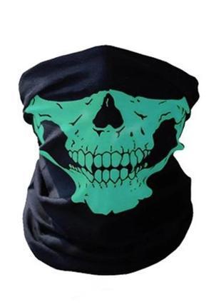 Бафф маска с рисунком черепа (челюсть) зеленый, унисекс