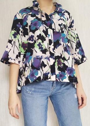 Рубашка оверсайз укороченная принт гавайка