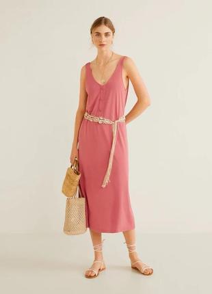 Платье майка миди сарафан модал оригинал mango пудровая роза