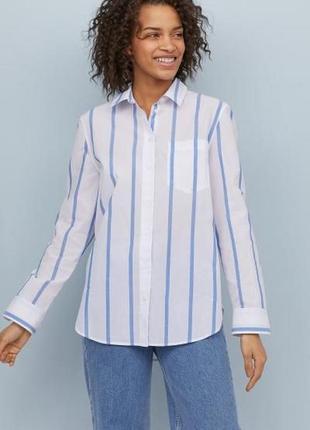 Хлопковая рубашка блузка с карманом в полоску принт