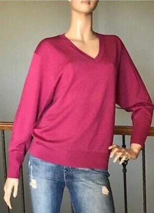 Свитер, пуловер с v-образным вырезом, размер м, шерсть