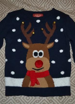 Новогодний свитер primark 5-6 лет рост 110-116 англия