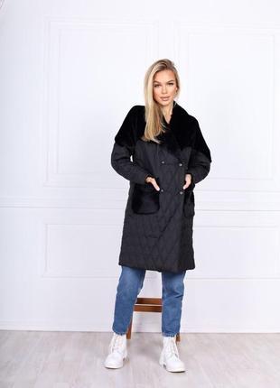 Пальто с мехом чёрное