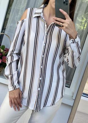 Удлиненная полосатая рубашка с оголёнными плечами new look
