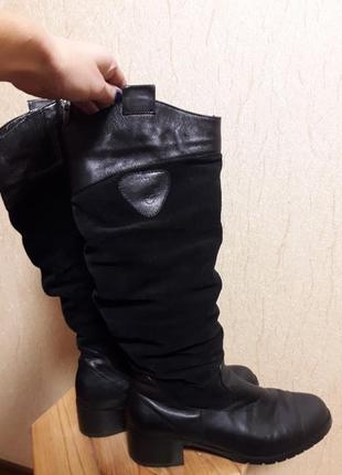 Зимние кожаные (замшевые) сапоги