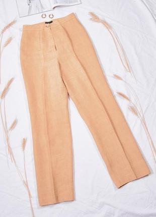Льняные дизайнерские брюки, жіночі штани із льону