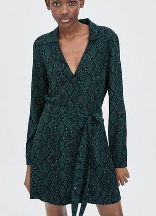 Zara trf-платье рубашка в змеиный принт! р.-s