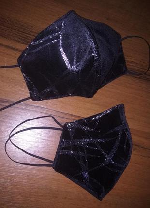 Черная бархатная маска для лица