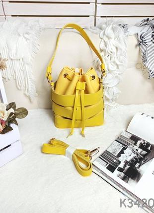Жовта жіноча сумочка мішок, жёлтая женская сумка мешок