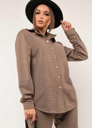 Женская бежевая рубашка в клетку на кнопках (ру 0520 rmmr)