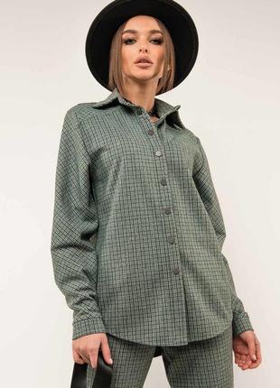 Женская зеленая рубашка в клетку на кнопках (ру 0520 rmmr)