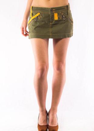 Юбка мини джинсовая зеленая женская diesel (26)