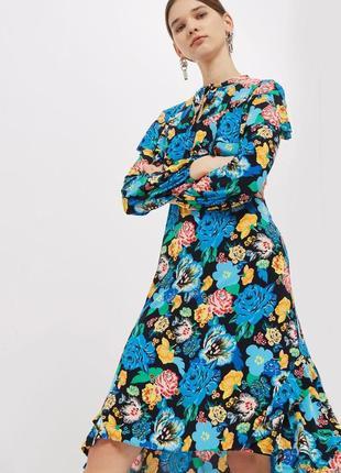 Платье с длинным рукавом асимметрия цветочный принт миди с завязкой на шее