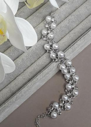 Красивый жемчужный браслет в серебре