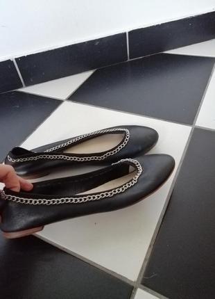 Кожаные итальянские балетки туфли
