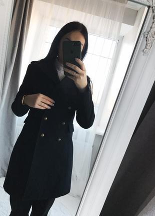 Пальто двубортнове женское шерсть h&m