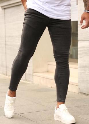 Мужские джинсы зауженные скини темно-серые/ турция
