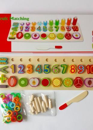 Обучающая игра 3 в 1, сортер, цифры, пирамидки, разрезалки