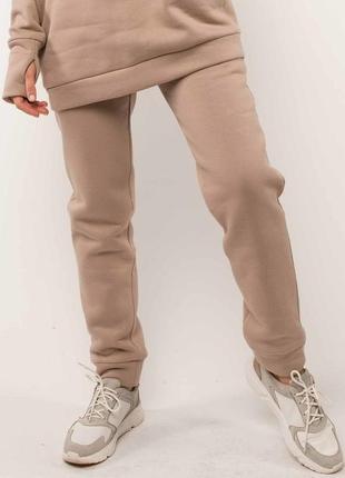 Женские бежевые зимние спортивные брюки на флисе (бр 1120 rmmr)