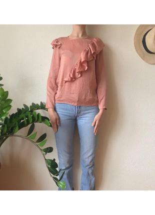 Пудровая блуза блузка под шифон с оборкой
