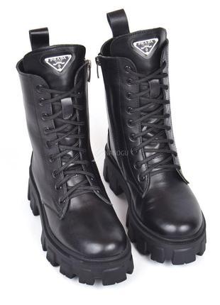 Ботинки женские кожаные prada зимние берцы натуральный мех черные