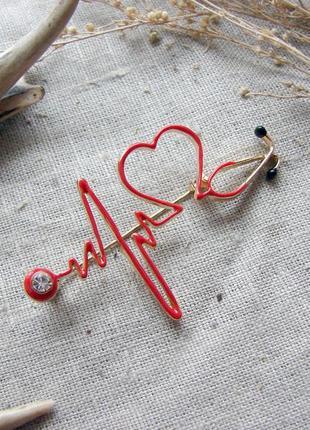 Брошь в виде кардиограммы брошка для врача. цвет красный золото