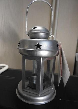 Фонарь подсвечник металлический , новогодний, красный, белый, серый7 фото