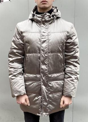 Asics italy пуховик, мужская куртка xl серебристая серая, парка асикс