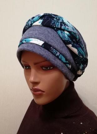 Красивая шапка чалма 56-58 синий +бирюза