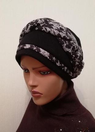 Красивая шапка чалма 56-58 чёрный