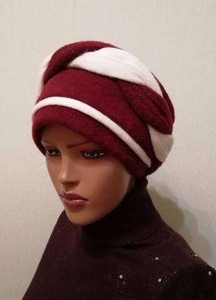 Красивая шапка чалма 56-58 зима бордо