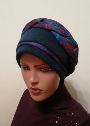 Красивая шапка чалма 56-58 изумруд