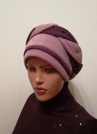 Красивая чалма шапка 56-58 пыльная роза