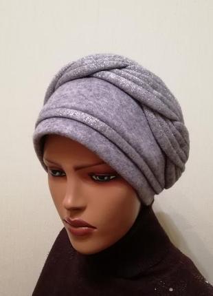 Красивая шапка чалма 56-58 голубая
