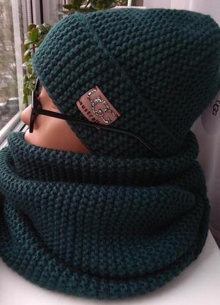 Новый зимний комплект: шапка (утеплена флисом) и хомут 2 оборота, темно-зеленый