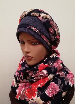 Красивый комплект шапка чалма и шарф платок 56-58 синий +красный