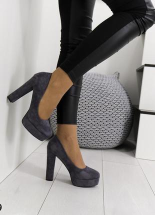 Туфли на толстом каблуке,туфли высокий каблук,туфли круглый носок,туфли замша