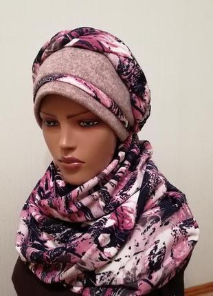 Красивый комплект шапка чалма и шарф платок 56-58 беж +роуз