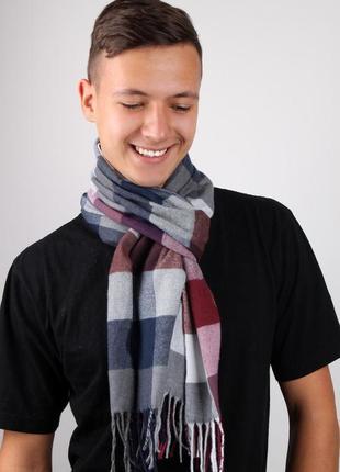 Мужской шарф унисекс серый бордо
