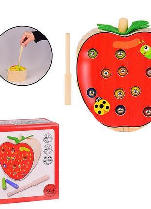 Магнитная игра поймай червяка яблоко