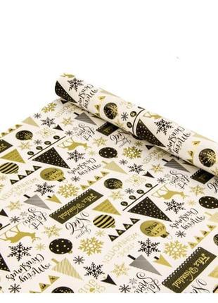Новогодняя бумага для подарков в рулонах новогоднее настроение белая
