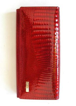 Большой кожаный лаковый кошелек red wine, 100% натуральная кожа, есть доставка бесплатно
