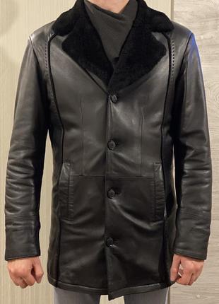 Новая кожаная зимняя куртка, пальто на овчине