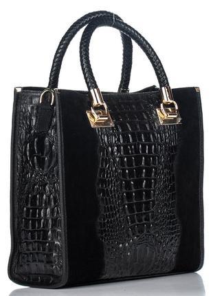 Замшевая черная сумка с покрытием под крокодила, италия, разные цвета