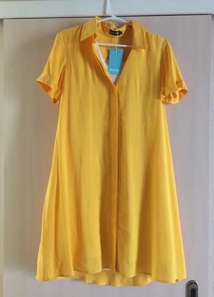 Musthave желтое платье рубашк, трапеция eur 34/xs-s