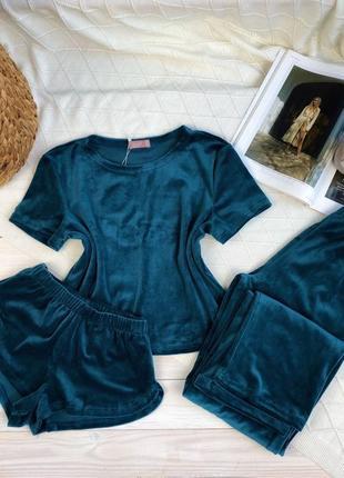 Плюшевая изумрудная пижама тройка, футболка, шорты и шианы, комплект для дома
