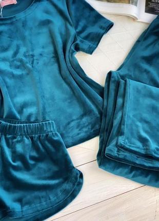Плюшевая изумрудная пижама тройка, футболка, шорты и шианы, комплект для дома2 фото